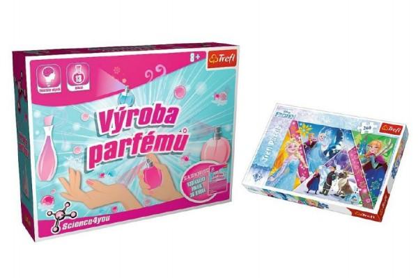 PACK Science for you Výroba parfémů 13pokusů+Puzzle Ledové království/Frozen 260díl. v krab.40x26x13