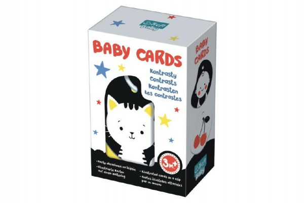 Karty na kroužku pro nejmenší kontrasty Baby Cards 7ks v krabičce 12,5x19x7cm 3m+