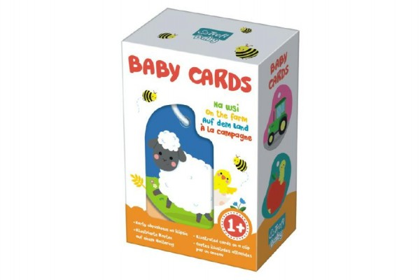 Karty na kroužku pro nejmenší Na Vesnici Baby Cards 7ks v krabičce 12,5x19x7cm 1+