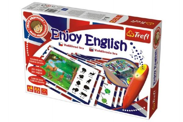 Malý objevitel Enjoy English + kouzelné pero naučná společenská hra v krabici 33x22x6cm