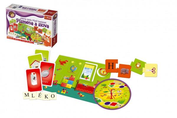Malý objevitel Písmena a slova společenská naučná hra v krabici 40x27x6cm