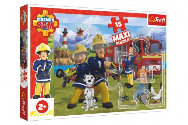 Puzzle maxi 15 dílků Požárník Sam - Tým v akci 60x40cm v krabici 40x27x5cm 24m+