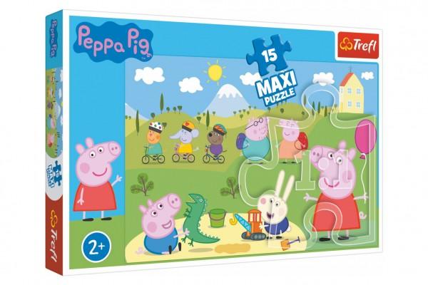 Puzzle Prasátko Peppa/Peppa Pig Šťastný den 60x40cm 15 dílků v krabičce 40x26x4,5cm 24m+