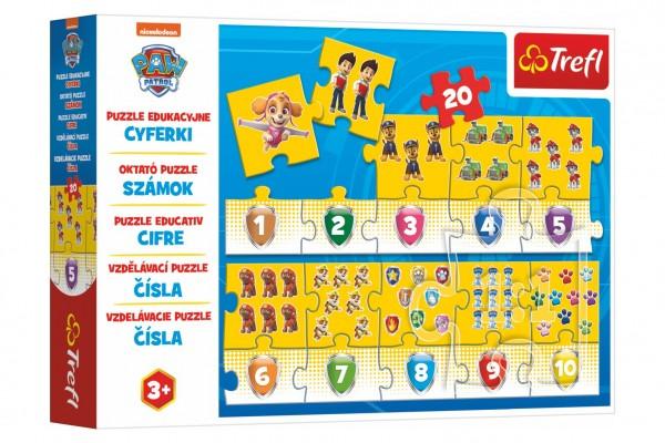 Puzzle vzdělávací Čísla Tlapková patrola/Paw Patrol 20 dílků 117x19,5cm v krabici 33x23x6cm