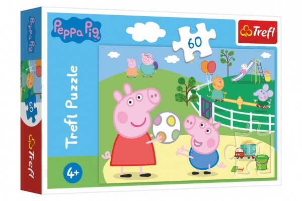 Puzzle Prasátko Peppa/Peppa Pig Zábava s přáteli 33x22cm 60 dílků v krabičce 21x14x4cm