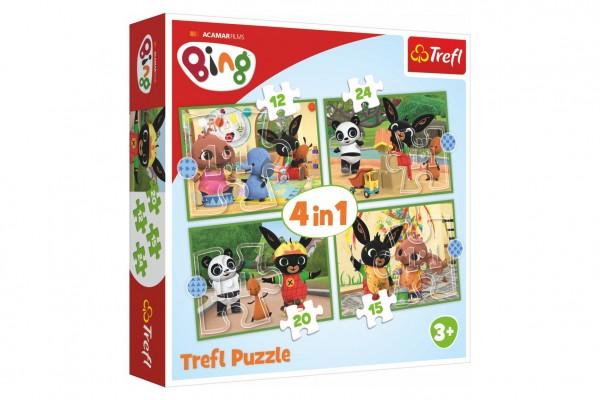 Puzzle 4v1 Bingův šťastný den 28,5x20,5cm v krabici 28x28x6cm