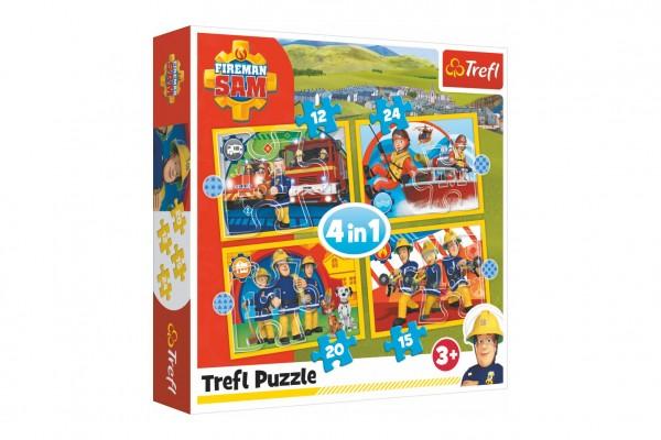 Puzzle 4v1 Ochotný Požárník Sam 28,5x20,5cm v krabici 28x28x6cm