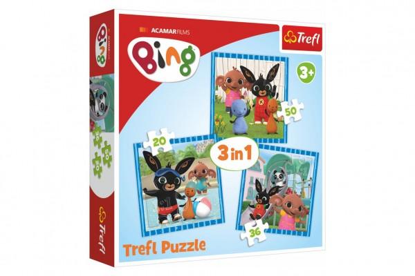 Puzzle 3v1 Bing Bunny Zábava s přáteli v krabici 28x28x6cm