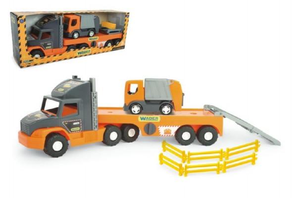 Auto nákladní Super Tech Truck návěs 78cm + auto popelář 24cm plast Wader v krabici 78x28x20cm