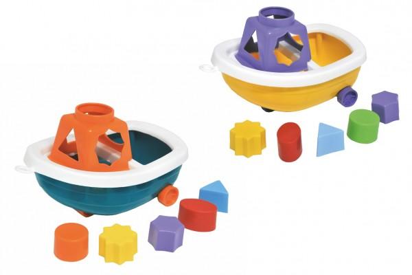 Loď/Člun na kolečkách + vkládačka plast 13x20cm 2 barvy v síťce 12m+