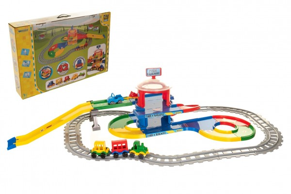 Play Tracks - vlak s kolejemi plast 4ks autíček,délka dráhy 6,4m s doplňky v krabici 80x53x14cm 12m+