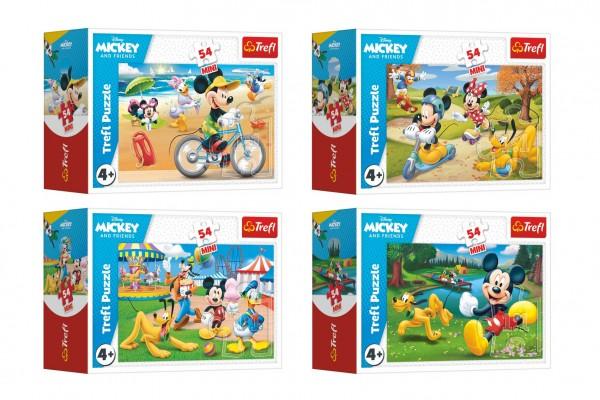 Trefl Minipuzzle 54 dílků Mickey Mouse Disney/ Den s přáteli 4 druhy v krabičce 9x6,5x4cm 40ks v boxu
