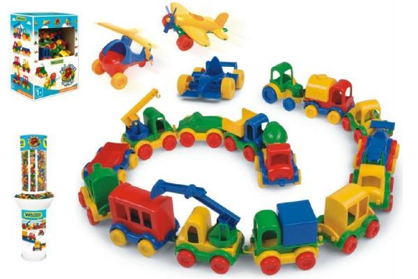 Auto Kid Cars mini plast 10cm asst 10 druhů 54ks v boxu Wader