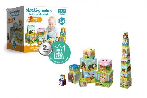 Kostky kubus V lese 10ks v krabici 15x15cm 1+