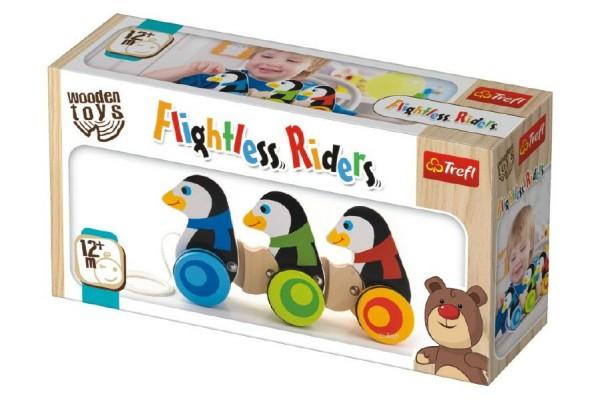 Tučňáci na kolečkách dřevěné 3ks Wooden Toys v krabici 26,5x14x7cm 12m+