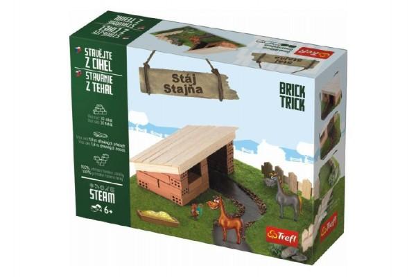 Stavějte z cihel Stáj stavebnice Brick Trick v krabici 28x21x7cm