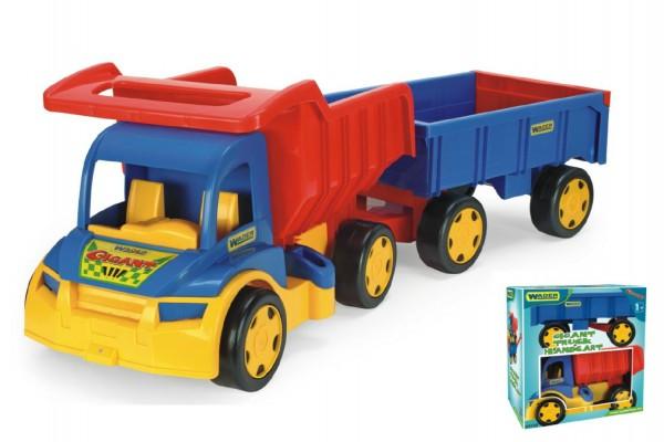 Auto Gigant Truck sklápěč + dětská vlečka plast 55cm v krabici Wader
