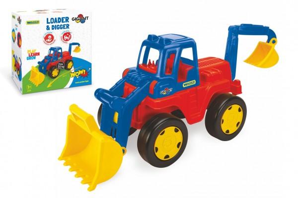 Auto Gigant nakladač a bagr plast 50cm v krabici 55x59x33cm Wader 12m+