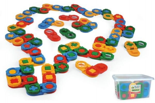 Kostky stavebnice domino plast 64ks v plastovém boxu 41x23x35cm Wader