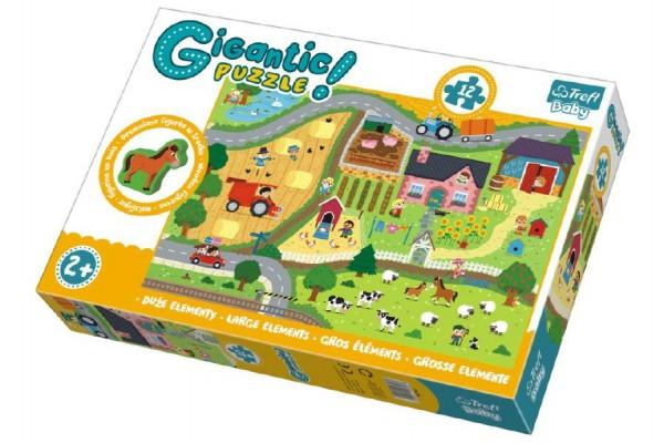 Puzzle zvířátka Gigantic Venkov 12ks v krabici 40x27x6cm 2+