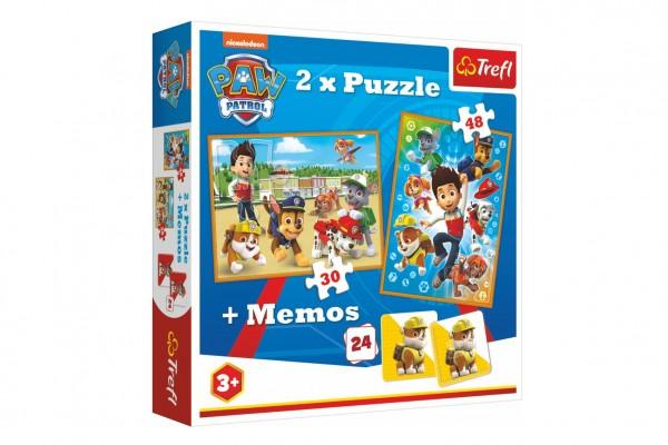 Puzzle 2v1 + pexeso Paw Patrol/Tlapková patrola 27,5x20,5cm v krabici 28x28x6cm