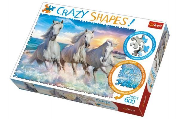 Puzzle Koně Cválající 600 dílků Crazy Shapes 68x48cm v krabici 40x27x6cm