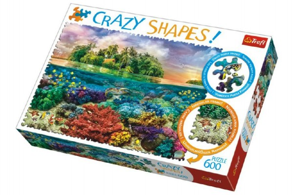Puzzle Tropický Ostrov 600 dílků Crazy Shapes 68x48cm v krabici 40x27x6cm
