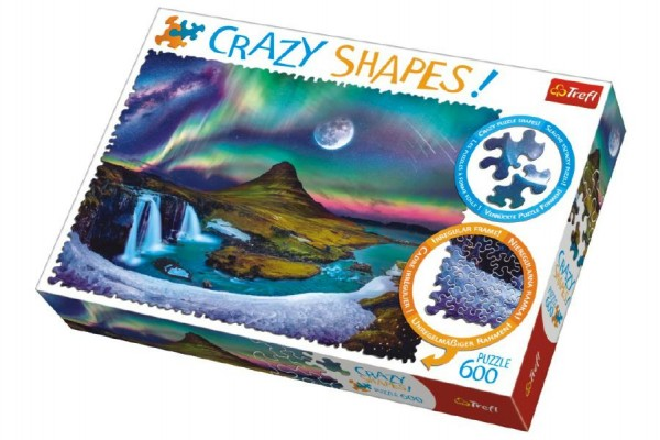 Puzzle Aurora nad Islandem 600 dílků Crazy Shapes 68x48cm v krabici 40x27x6cm