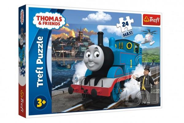 Puzzle maxi 24 dílků Mašinka Tomáš-Tomášův šťastný den 60x40cm v krabici 21x14x4cm
