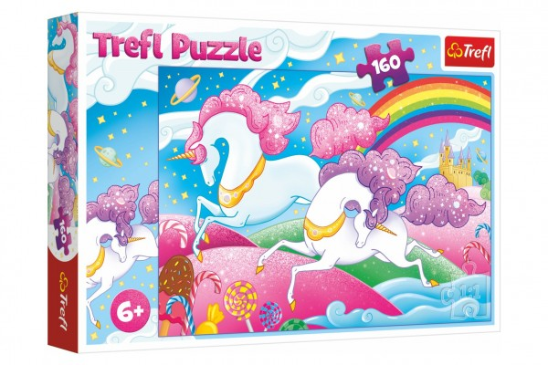 Puzzle Cválající jednorožci 160 dílků 41x27,5cm v krabici 29x19x4cm