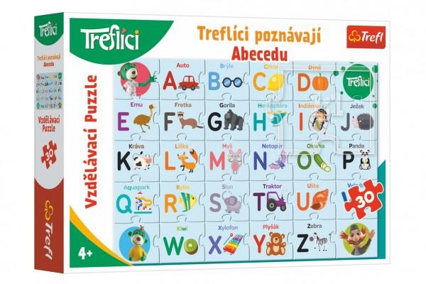 Puzzle Treflíci poznávají Abecedu 30 dílků 60x40cm v krabici 33x23x6cm
