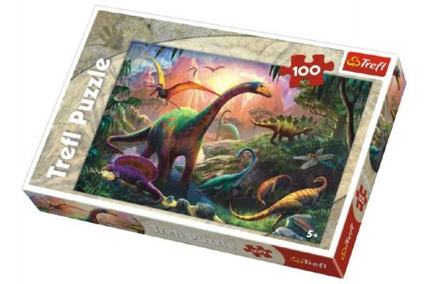Puzzle Dinosauři 100 dílků 41x27,5cm v krabici 29x20x4cm