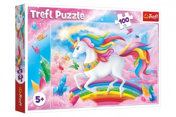 Puzzle V křišťálovém světě jednorožce 100 dílků 41x27,5cm v krabici 29x19x4cm