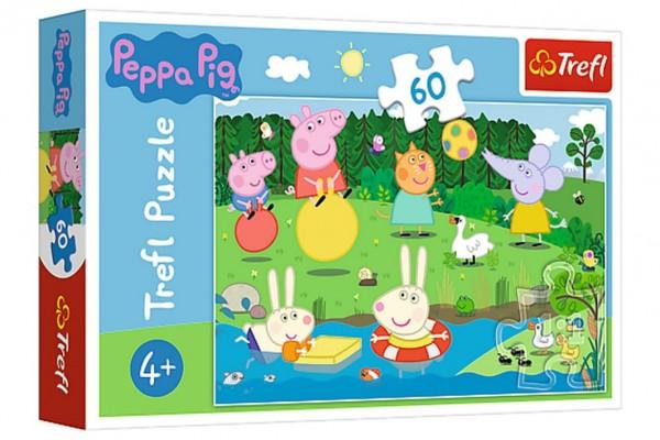 Puzzle Prasátko Peppa/Peppa Pig Prázdninová zábava 33x22cm 60 dílků v krabičce 21x14x4cm