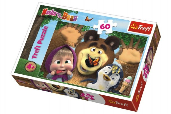 Puzzle Máša a Medvěd 60 dílků 33x22cm v krabici 21x14x4cm