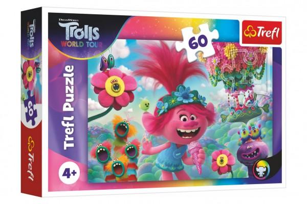 Puzzle V hudebním světě Trollů 33x22cm 60 dílků v krabici 21x14x4cm