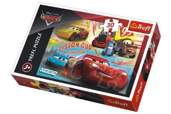 Puzzle Cars 3/Auta koláž 27x20cm 30 dílků v krabičce 21x14x4cm