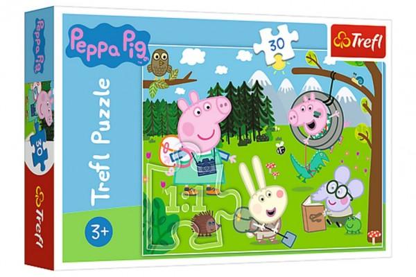Puzzle Prasátko Peppa/Peppa Pig Výlet do lesa 27x20cm 30 dílků v krabičce 21x14x4cm