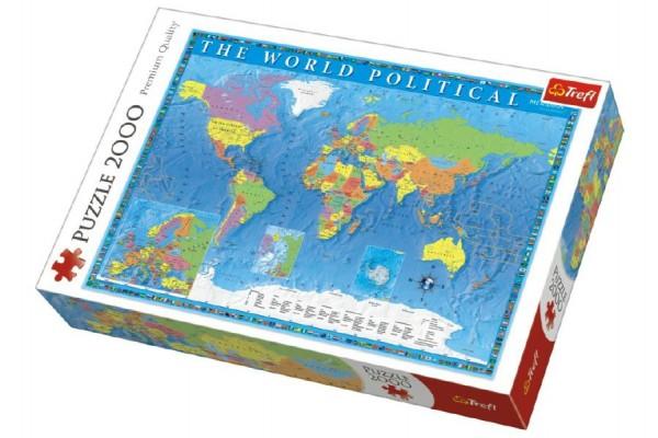 Puzzle Politická mapa světa 2000 dílků 96x68cm v krabici 40x27x6cm