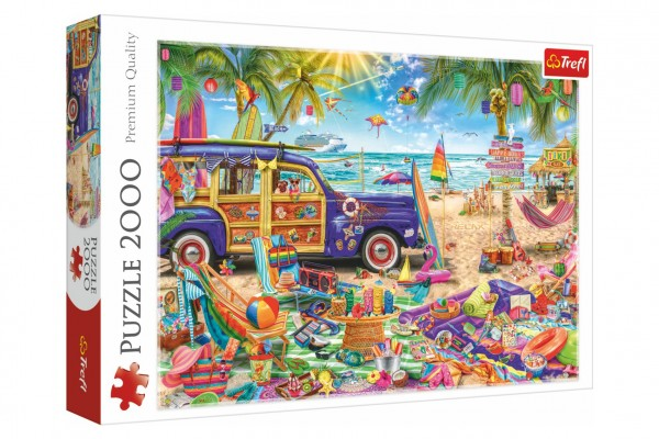 Puzzle Tropická dovolená 96,1x68,2cm 2000 dílků v krabici 40x27x6cm