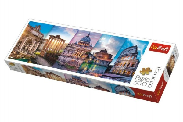 Puzzle Koláž památky Itálie panorama 500 dílků 66x23,7cm v krabici 40x13x4cm