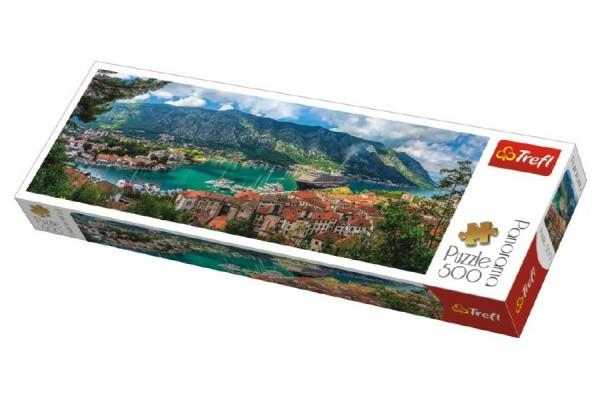Puzzle Kotor, Montenegro panorama 500 dílků 66x23,7cm v krabici 40x13x4cm