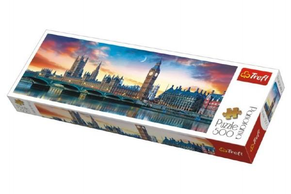 Puzzle Big Ben a Westminsterský palác, Londýn panorama 500 dílků 66x23,7cm v krabici 40x13x4cm
