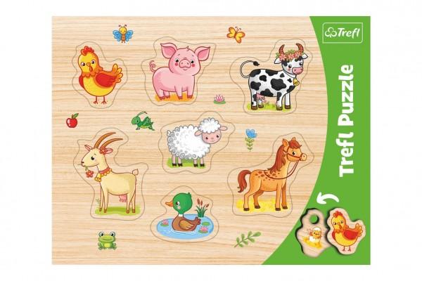 Vkládačka/Puzzle deskové obrysové zvířátka farma 37x29cm ve fólii