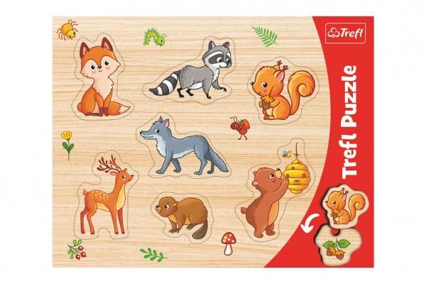 Vkládačka/Puzzle deskové obrysové lesní zvířátka 37x29cm ve fólii