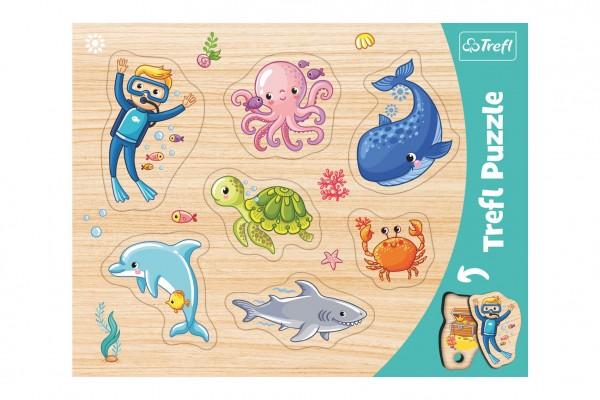 Vkládačka/Puzzle deskové obrysové zvířátka mořský svět 37x29cm ve fólii