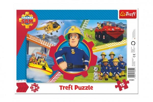 Puzzle deskové Požárník Sam 33x23cm 15 dílků