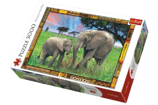 Puzzle Savana Sloni 3000 dílků 116x85cm v krabici 40x27x9cm