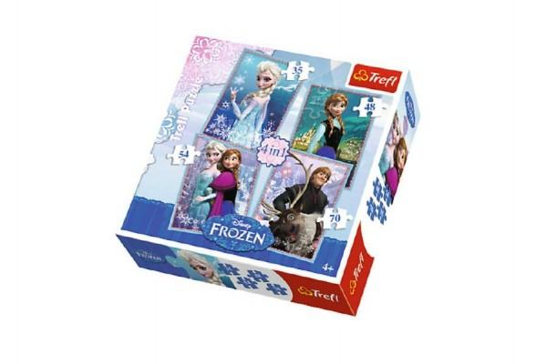 Puzzle  4v1 Ledové království/Frozen v krabici 28x28x6cm