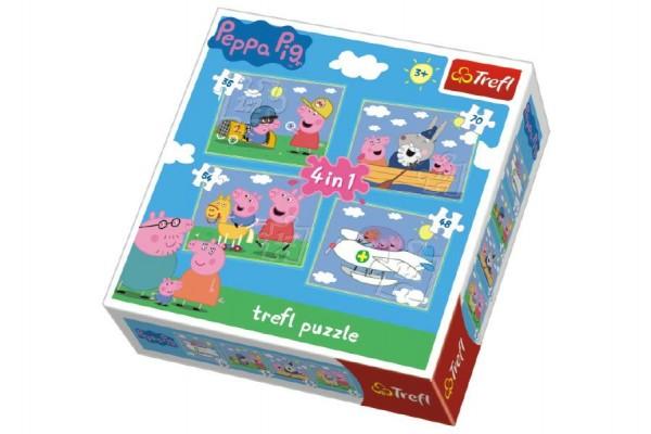 Puzzle  4v1 Prasátko Peppa v krabici 28x28x6cm